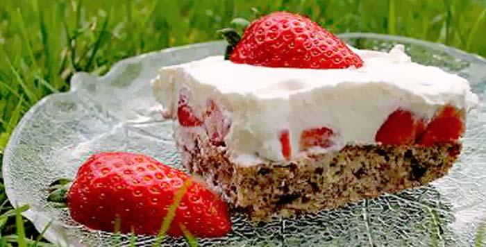 Low Carb Erdbeer-Sahne Blechkuchen