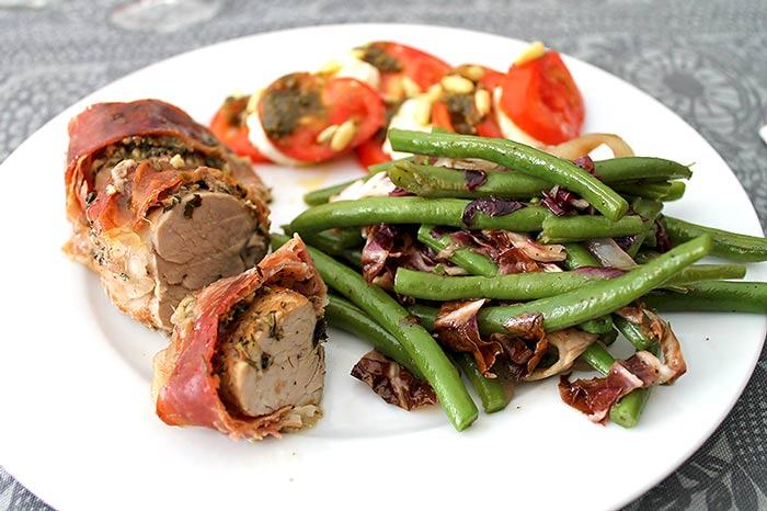 Low Carb Rezept | Bohnengemüse mit Schweinefilet Parma