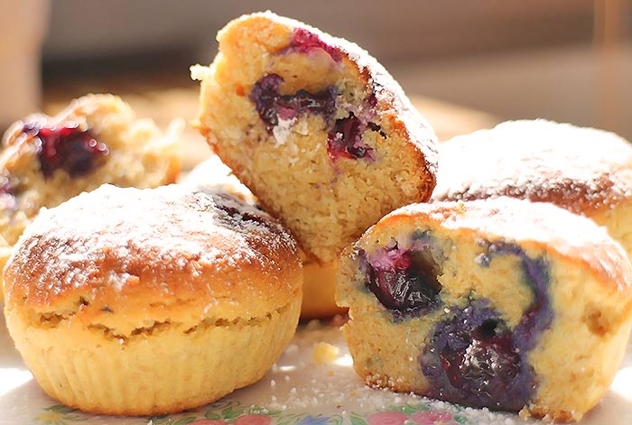 Low Carb Mini-Blueberry-Muffins