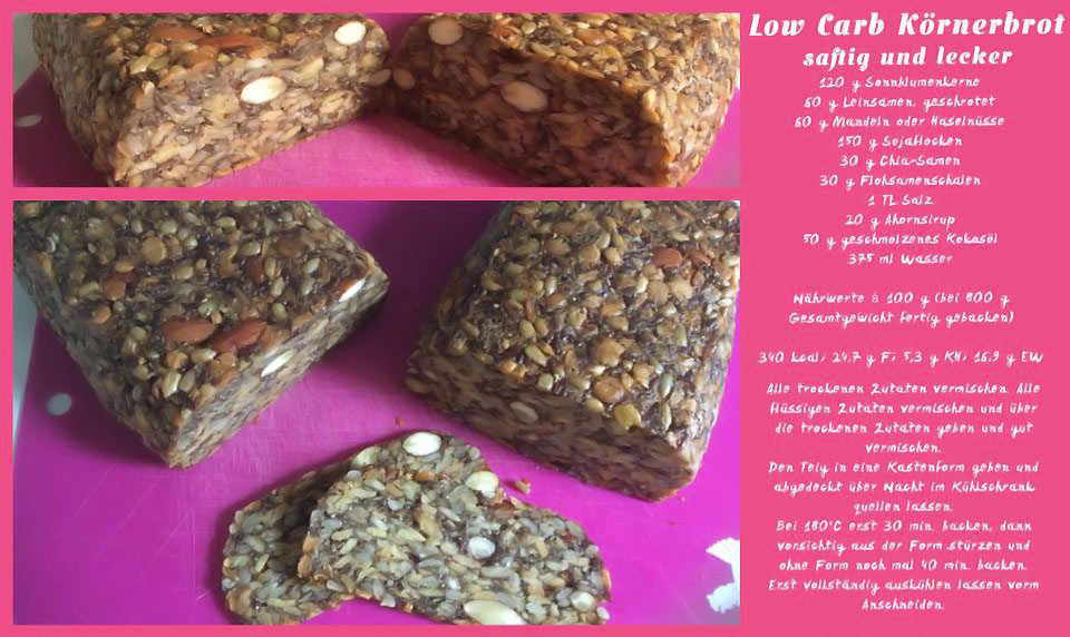 Low Carb Körnerbrot (Low Carb Brot Rezept mit Sojaflocken)